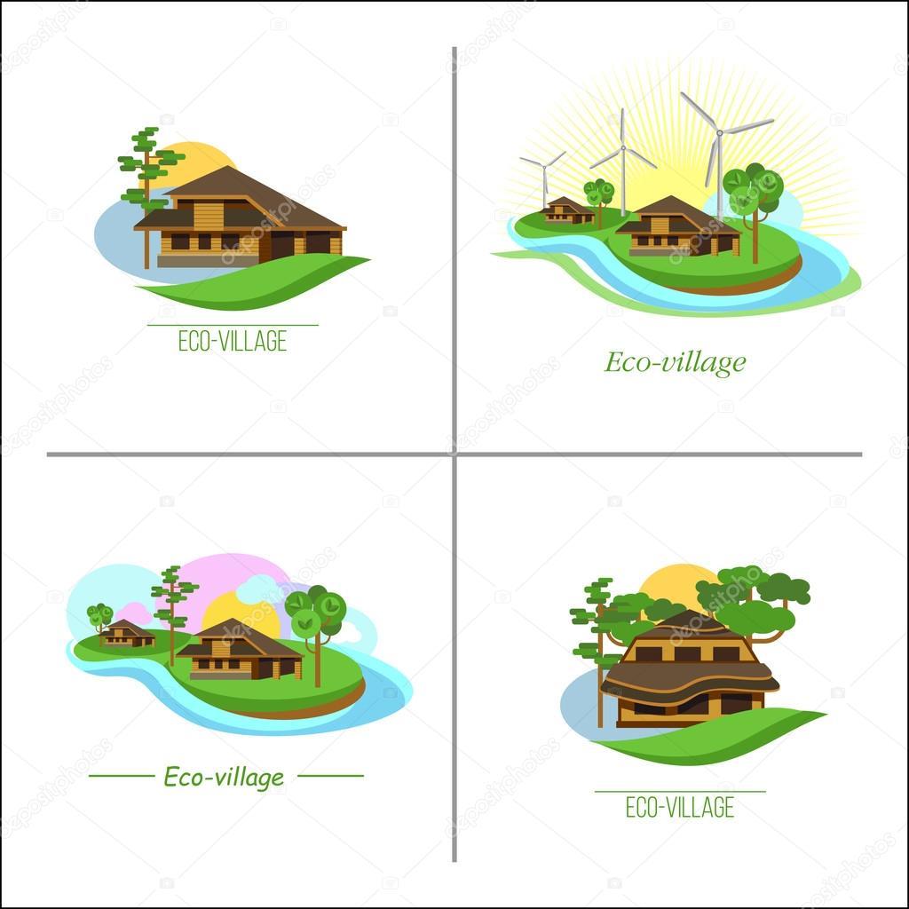 set of 4 logos eco village eco house vector logo suburban real