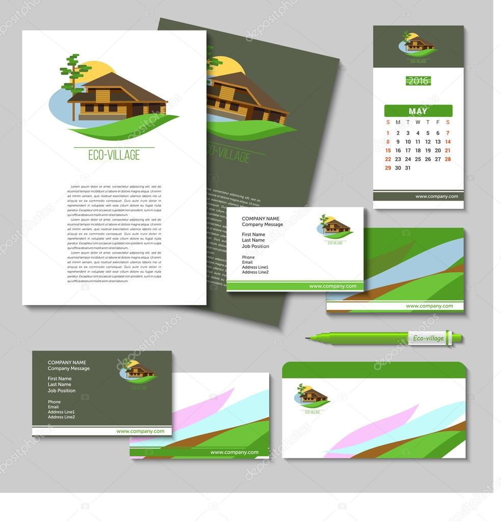 Set of vector business cards posters pens flash drives envelopes set of vector business cards posters pens flash drives envelopes with the logo of eco villages eco house brand style suburban real estate reheart Image collections