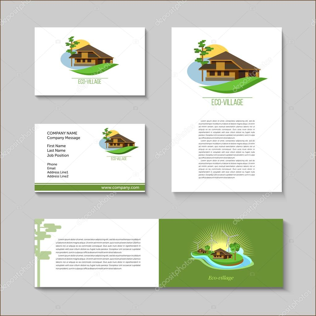 Set of vector posters and business cards with the logo of eco set of vector posters and business cards with the logo of eco villages eco house brand style suburban real estate vetor por katedemianov reheart Image collections