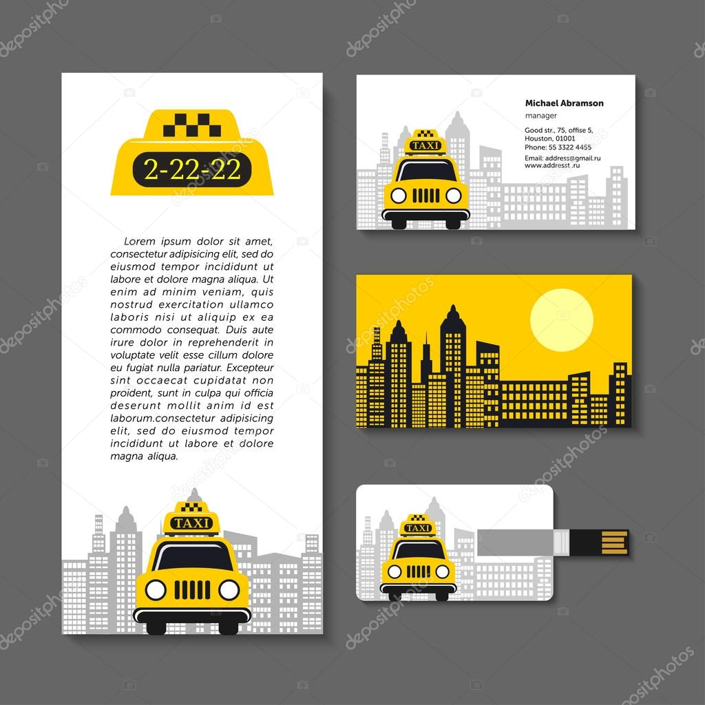 Taxi. Set of corporate identity elements. Business cards, flyer, flash card  30