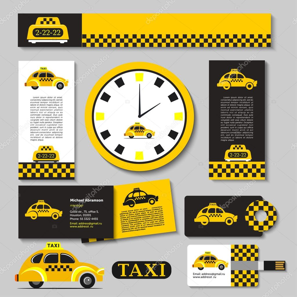 Taxi. Set of corporate identity elements. Calendar, business card, flyer,  hours 30
