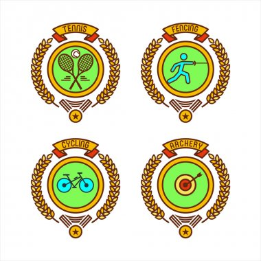 Emblems of sports clubs. Tennis, fencing, Cycling, archery. Vector illustration