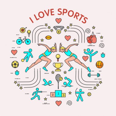 I love the sport. Sports infographics. The set of elements and icons for print on t-shirts. Different types of sports
