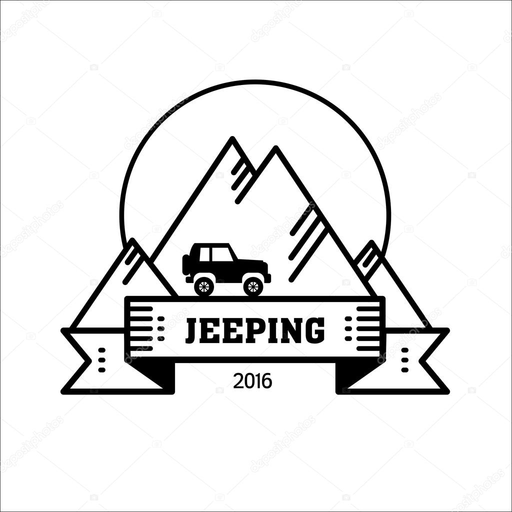 Logo Jeeping Vector Sign Riding Jeep Off Road Mountains In The Background Travel Tourism Hobby Sport Vector Image By C Katedemianov Vector Stock 115993008