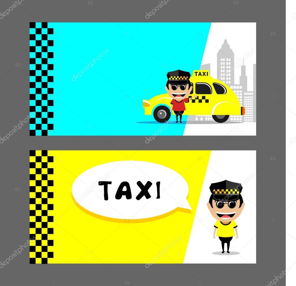 Chauffeur De Taxi Et Ensemble Dillustrations Vectorielles Cartes Visite Flyers Illustration Stock