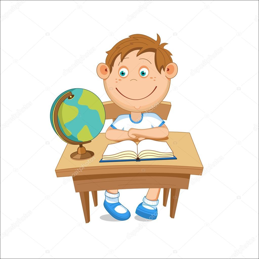 Bir Küre Vektör çizim Seyir Masada Oturan çocuk Stok Vektör