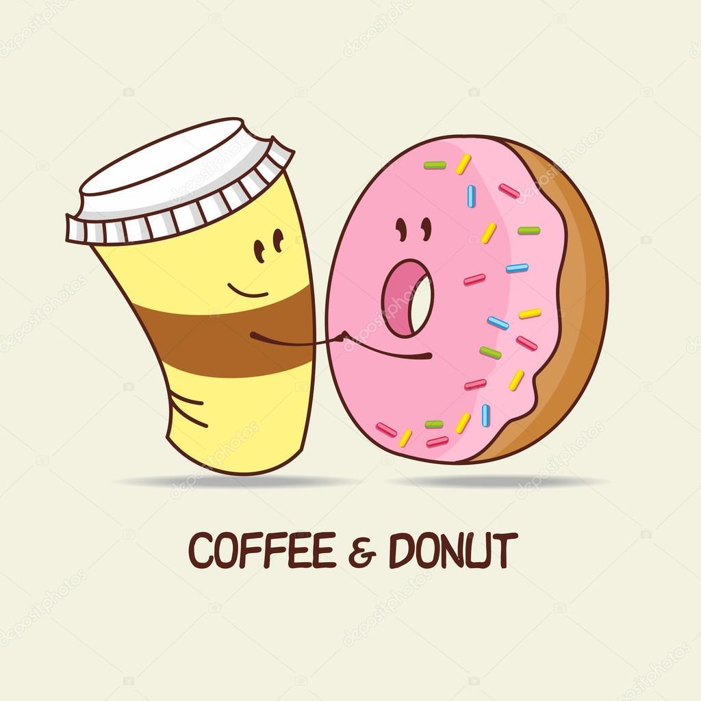 Uma xícara de café e um donut, amor para sempre. Abraço do ...
