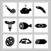 Produkte. Fleischsortiment. Vektorsymbole