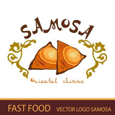 The samosa. fast food. Vector logo.