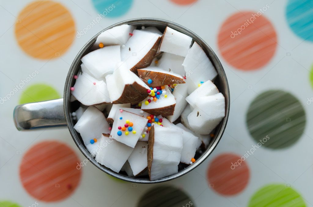 Coconut cubes in a bowl