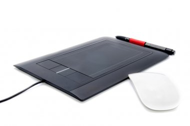 Tablet pad with white mouse