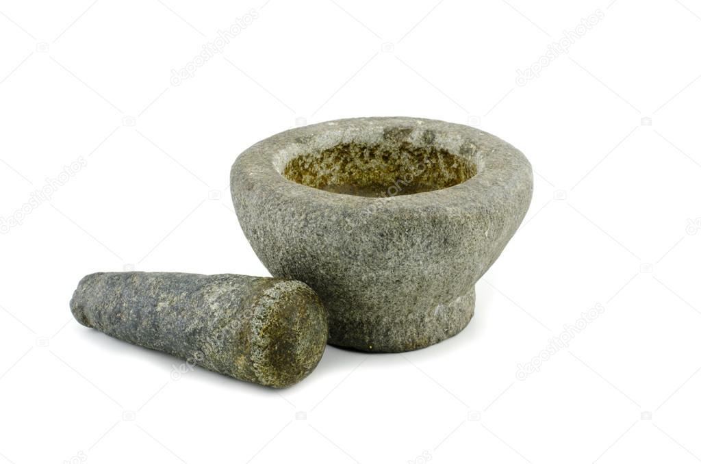 Steinmörser verwendeten stein mörser und pistill stockfoto xicro 97037806