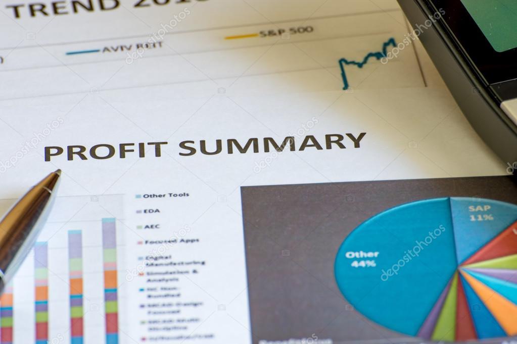 Análisis de gráficos Resumen de beneficio contable financiero — Foto ...