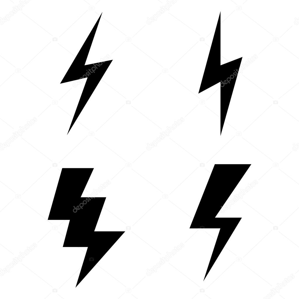vector set of black thunder lighting icons stock vector c ajaxbro 82195530 https depositphotos com 82195530 stock illustration vector set of black thunder html