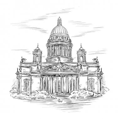 Saint Isaacs Cathedral in St. Petersburg, Russia. Hand drawn sketch  in the style of an ancient engraving clip art vector