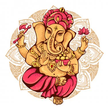 Lord Ganesh. Ganesh Puja. Ganesh Chaturthi. It is used for postcards, prints, textiles, tattoo. stock vector
