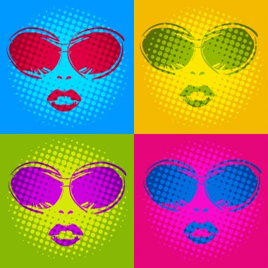 female portrait with glasses in Disco style 2