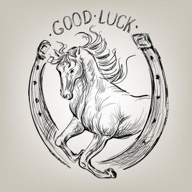Horse in horseshoe like symbol fortune