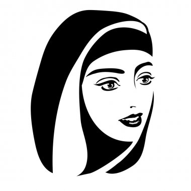 monochrome portrait of a Muslim woman in a hijab on a white background