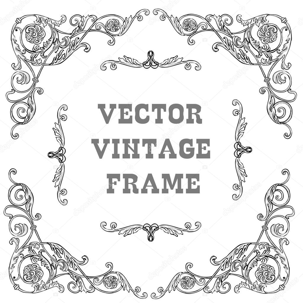 Marco barroco negro — Vector de stock © YulianaS #78529362
