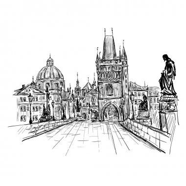 sketch of Charles Bridge