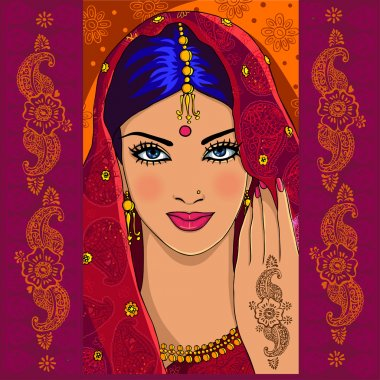 Indian woman with mehndi
