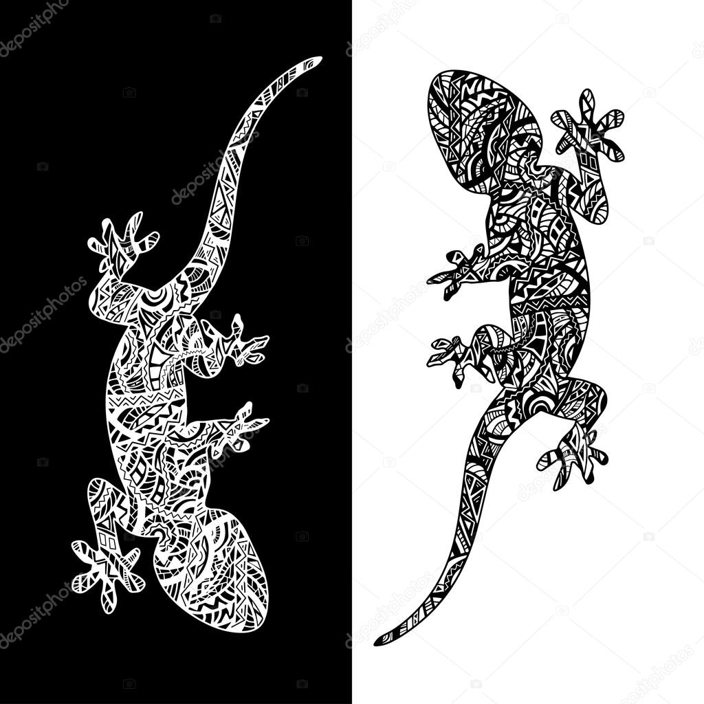 set of two lizards