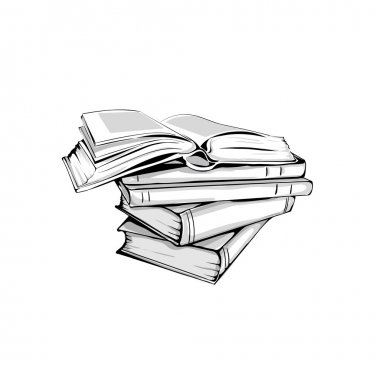 sketch of a stack  books