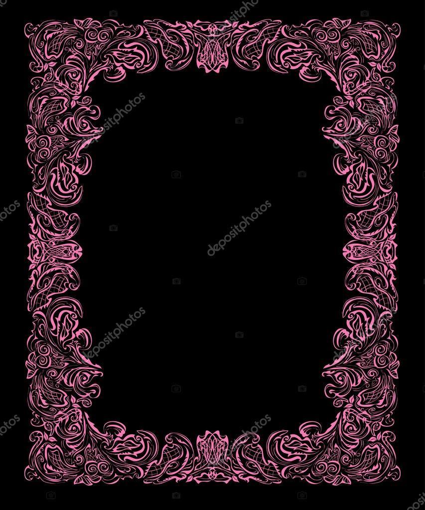 Marco barroco sobre fondo negro — Archivo Imágenes Vectoriales ...