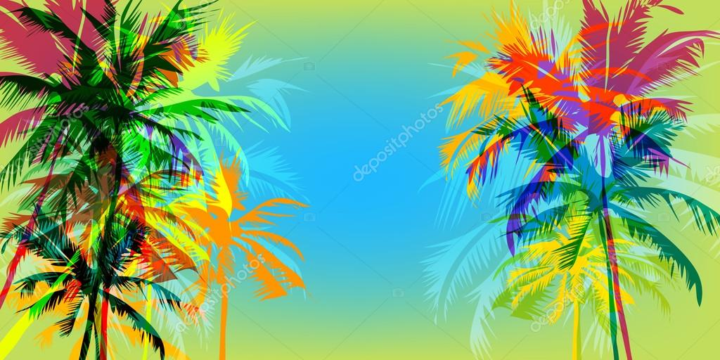Tropical palm banner