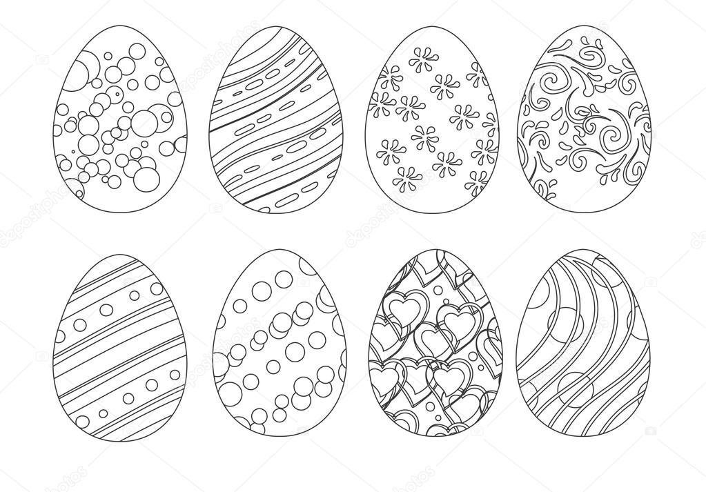 Set Egg Coloring Stock Vector C Yulianas 96926484