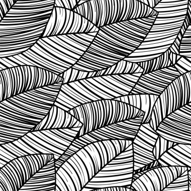 Seamless black-and-white pattern of tropical leaves