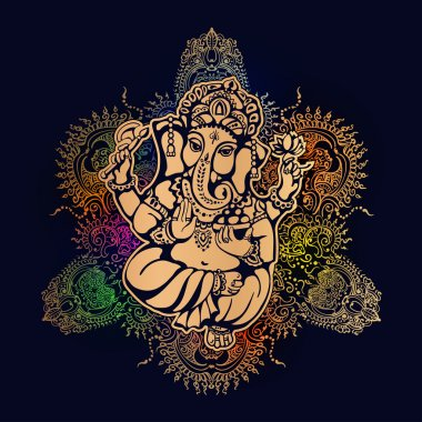 Hindu lord Ganesh against the background of the mandala with mehendi elements. Ganesh Puja. Ganesh Chaturthi. It is used for postcards, prints, textiles, tattoo