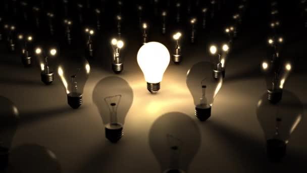 3D bezešvá smyčka jediné svítící žárovka