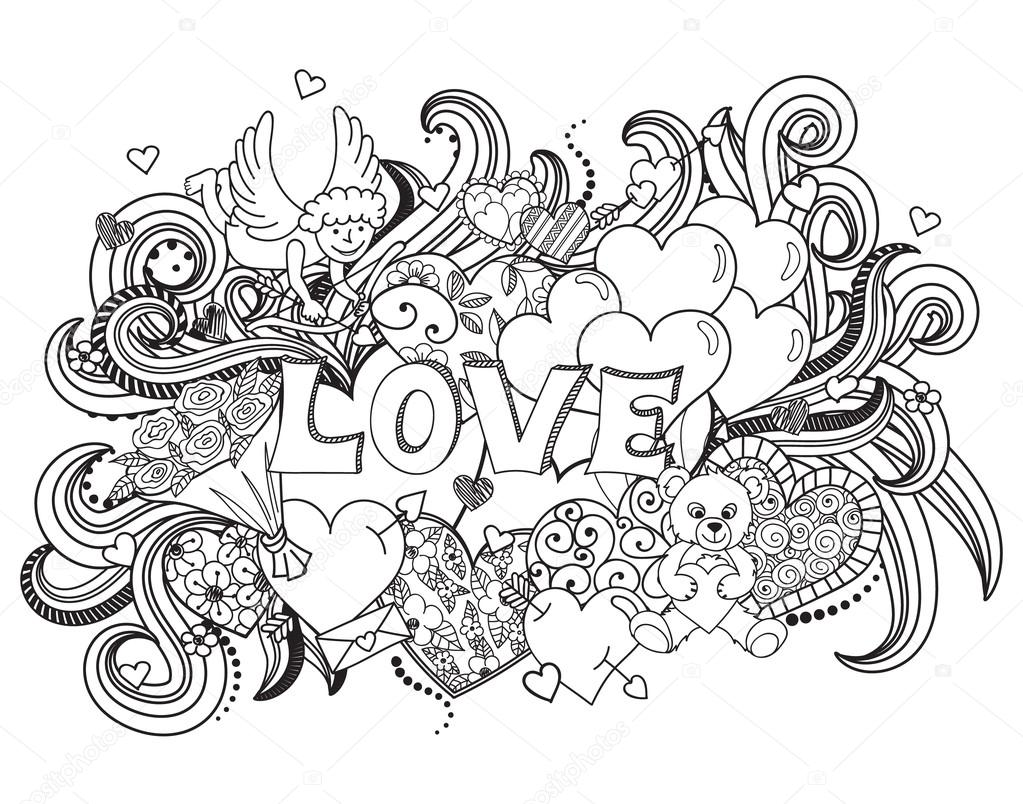 Garabatos de amor fondo — Vector de stock © elinorka ...