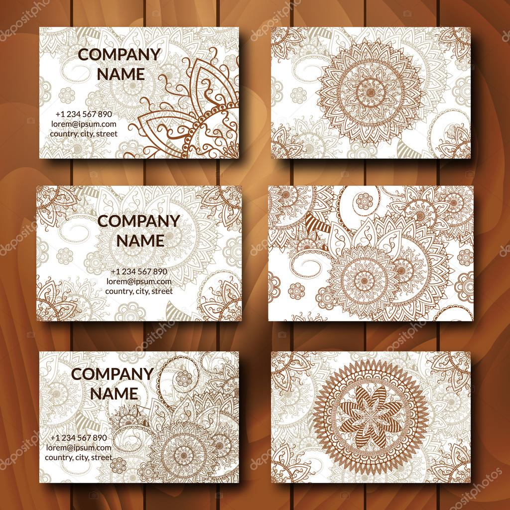Vintage business cards set. — Stock Vector © elinorka #108511154