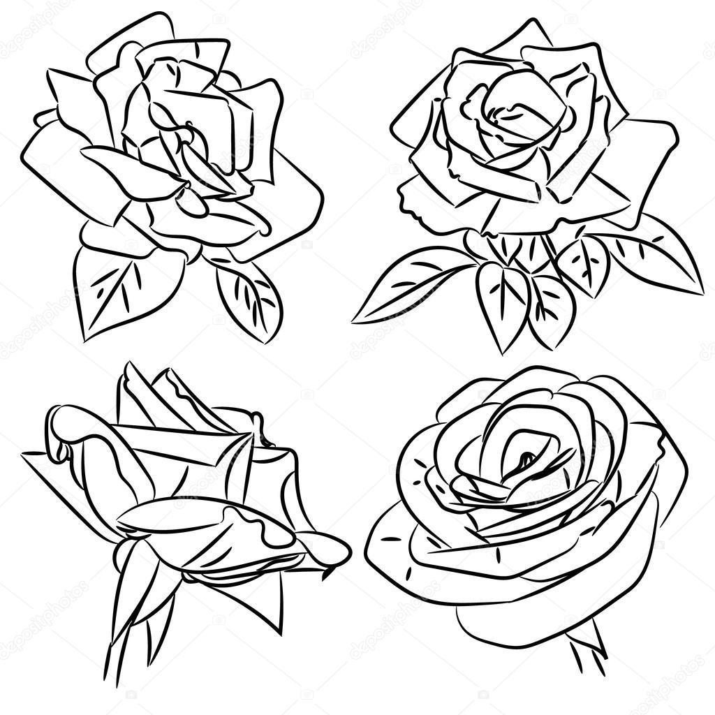 dibujos de rosas blanco y negro — Archivo Imágenes Vectoriales ...
