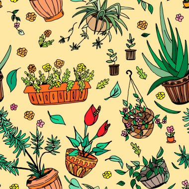 Pot plants seamless pattern, hand-drawn design elements
