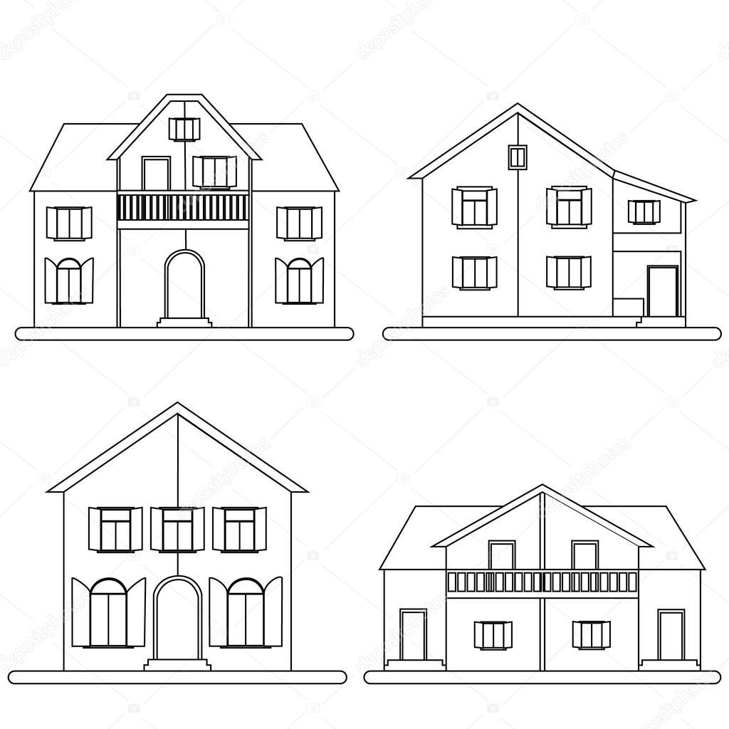 Häuser-Vektor-Satz — Stockvektor © elinorka #82607340