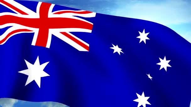 Australian Flag Closeup Waving Against Blue Sky Seamless Loop CG