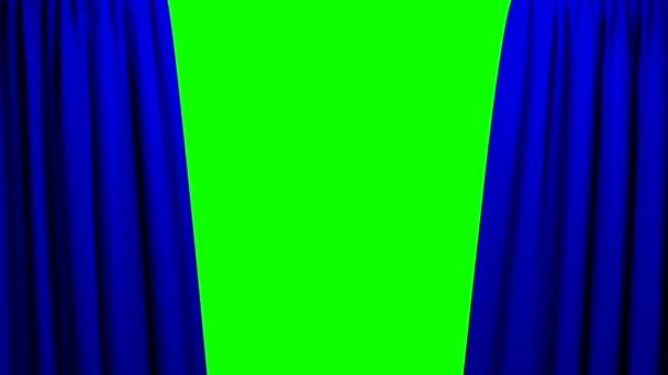 Modré závěsy, otevírání a zavírání jevišti divadlo kino zelené obrazovky