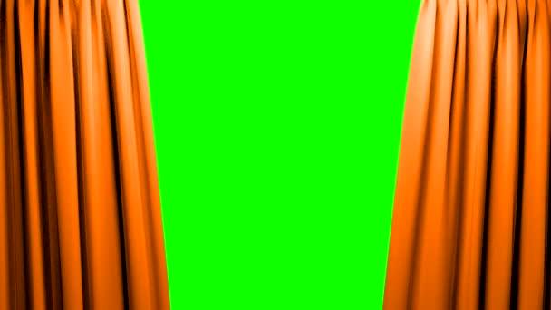 Oranžové závěsy otevírání a zavírání jevišti divadlo kino zelené obrazovky