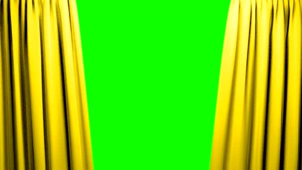 Žluté závěsy, otevírání a zavírání jevišti divadlo kino zelené obrazovky