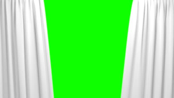 Weiße Vorhänge öffnen und Schließen der Bühne Theater Kinoleinwand grün