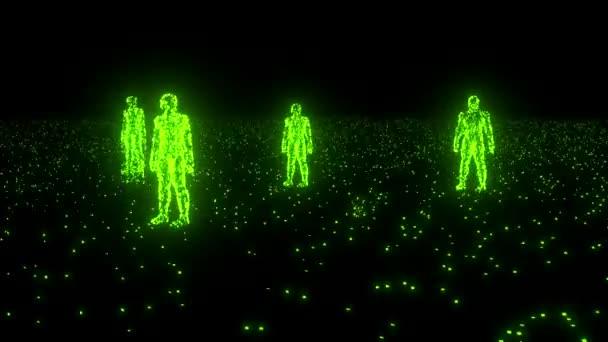 Binary people computer team glowing data 0 1 green