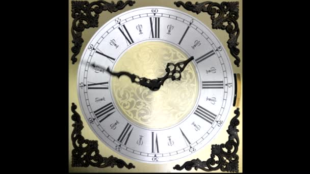 Clock face running forward at speed ornate grandfather timelapse time travel