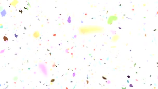 Confetti shapes falling away from camera slow motion DOF loop on white