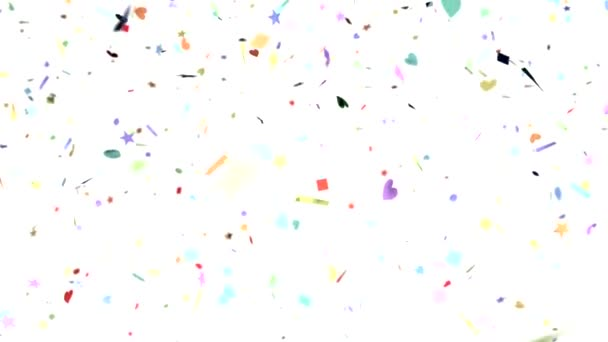 Confetti shapes falling slow motion DOF loop on white