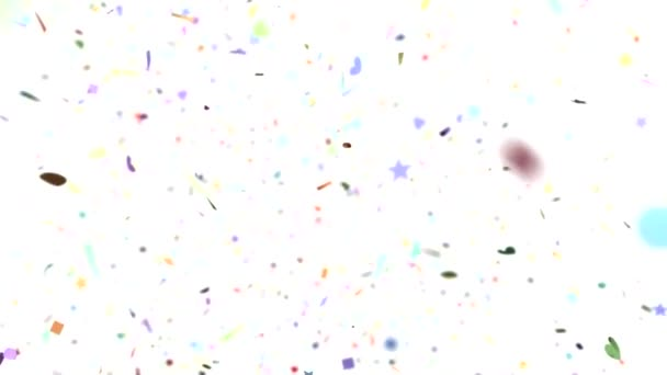 Confetti shapes falling towards camera slow motion DOF loop on white