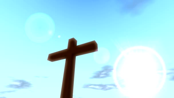 Cross crucifix with time lapse clouds blue sky and sun christian